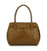 M&S Collection Leather Weave Flap Tote Bag
