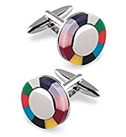 Multi-Striped Circle Cufflinks