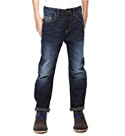 Bow Leg Washed Look Brushed Jeans
