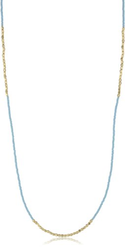 Chibi Jewels Aqua Glass Bead and Golden Section Necklace
