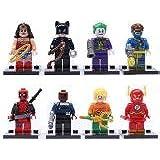 The Avengers super heroes minifigures 8pcs per set Wonder Woman Spider Man Bat Man Deadpool The Flash Cat Wonman Clown