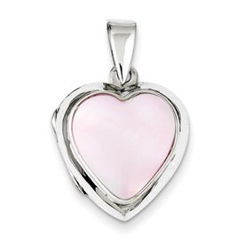 Genuine IceCarats Designer Jewelry Gift Sterling Silver Pink Mother Of Pearl Heart Locket