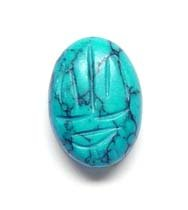 18x13mm Oval Turquoise Scarab Bead - Pack Of 3