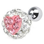 Pink / Clear Pretty Crystal ferido Heart Cartilage Upper Ear Helix Tragus Surgical Steel Earring
