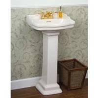 Read About Barclay 3-874WH Stanford 460 Vitreous China Pedestal Lavatory Sink with 4-Inch Centerset,...
