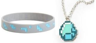 Minecraft Diamond Steve Necklace Rubber Bracelet Set Of 2 by MOJANG