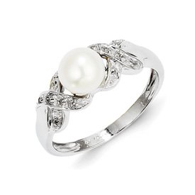 Genuine IceCarats Designer Jewelry Gift Sterling Silver Rhodium 6Mm Fw Cult Button Pearl Ring Size 6.00