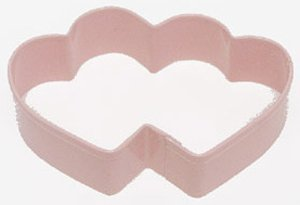 "R & M Double Heart Cookie Cutter - 3½"" - Pink - PolyResin"