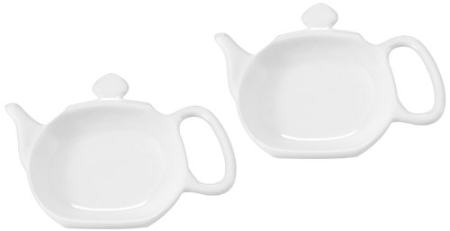Best Buy! Chantal 2-Pack Ceramic Tea Bag Holders, 3-Inch, Glossy White