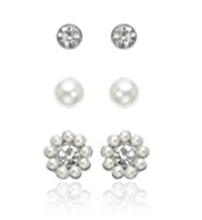 M&S Collection Pear Effect & Dainty Diamanté Stud Trio Earrings Set