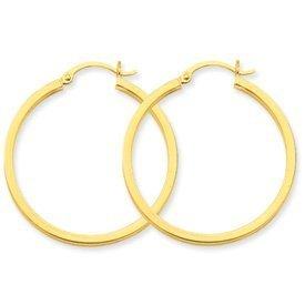 PriceRock 14k Gold 2mm Square Tube Hoop Earrings