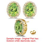 0.24 Ct Diamond & 1.00 Cts Peridot Stud Earrings