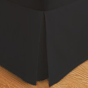 Wrinkle-Free Solid Black Twin Extra Long Size Pleated Tailored Bed Skirt With 14 Inches Drop- 95 Gsm, 100% Microfiber.