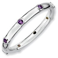 0.14ct A Must Have Silver Stackable Amethyst Band. Sizes 5-10 Available