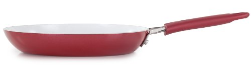 WearEver 2100072619 Pure Living Nonstick Ceramic Coating PTFE-PFOA-Cadmium Free Dishwasher Safe Fry / Saute Pan Cookware, 10-Inch, Red