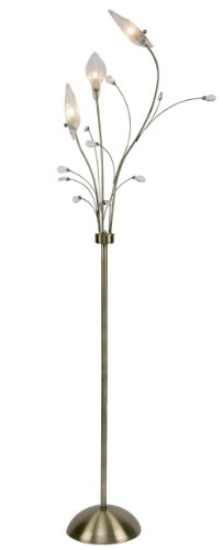 Cyprus 3 Light floor standard in Antique Brass Finish with clear glass leaf shades and dressed with crystal drops