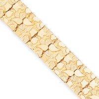 14k 15mm Nugget Bracelet - 7 Inch - Box Clasp - JewelryWeb
