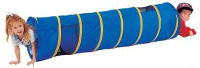 Children can crawl, hide, and play in Pacific Play Tents colorful See Me Tunnel.
