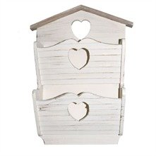 New large cream heart wooden letters rack post organiser for Large wooden letters amazon