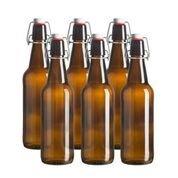 Glass Beer Bottle - 16 Oz. - 6 Pack - Amber