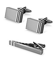 Rectangular Cufflinks & Skinny Tie Bar Set