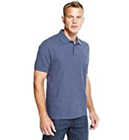 Blue Harbour Pure Cotton Marl Polo Shirt with StayNEW™