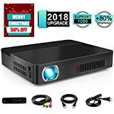 SeoJack Portable 3D Projector, Smart WiFi Projector with 1080P/HDMI/VGA/AV/USB/SD Support Airplay Mira-cast Wireless Display (Black) (Color: BLACK)