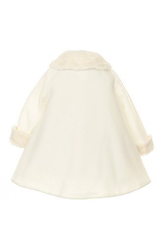 Girl's Cozy Fleece Long Sleeve Cape Jacket Coat - Ivory Infant M 6-12 Months