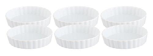 HIC Porcelain Creme Brulee Dish, White, Set of 6