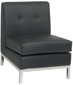 Armless Wall Street Modular Component with Chrome Finish Base (Part of Love Seat or Sofa) (Black)