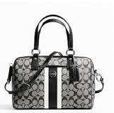 Coach   Coach F24362 Signature Black White Pvc Stripe Satchel Handbag Purse