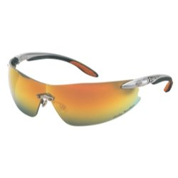 Harley-Davidson HD800 Safety Glasses with Silver Tempels Frame and Orange Mirror Tint Hardcoat Lens