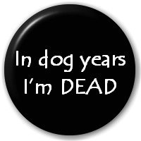 (D Pin) 25mm Lapel Pin Button Badge: In Dog Years I'm DEAD by Button Badges