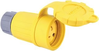 Hubbell Wiring Systems 27W47H Twist-Lock Tpe Watertight Connector, 1 Hp, 20 Amp, 125V, 2-Pole, 3-Wire Grounding, L5-20R, Yellow