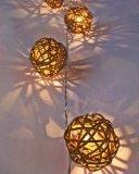 New Solar Powered Led Brown Rattan Garden Lantern Fairy Light String