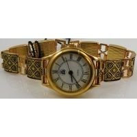 Damascene Gold Geometric Square Link Watch by Midas of Toledo Spain style 3504