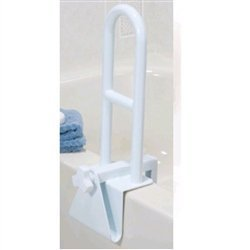 Steel Clamp On Tub Rail in White with Bathtub Wall