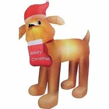 Christmas Santa Dog with Stocking Golden Retriever Airblown Inflatable 9 Ft