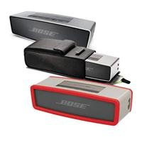 Bose Soundlink Mini Bluetooth Speaker, Up To 30 Ft Wireless Range, Silver - Bundle With Bose Sl Mini Speaker Travel Bag, Bose Mini Bluetooth Speaker Soft Cover - Red