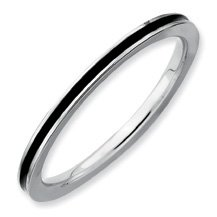 The Coolest Silver Stackable Black Enamel Band. Sizes 5-10 Available