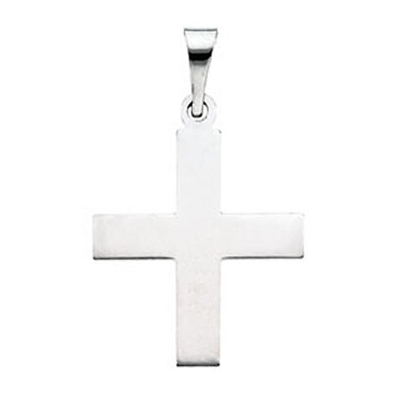 14k White Gold Quiet Greek Cross Pendant
