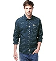 North Coast Pure Cotton Slim Fit Bird Print Shirt
