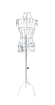 "Female White Steel Wire Mannequin Dress Form 32""22""32"" on Decorative Stand (0001 White)"