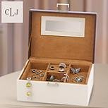 Faux Leather Cream & Chocolate Jewelry Box from Lenox - Lenox Personalized Jewelry Box