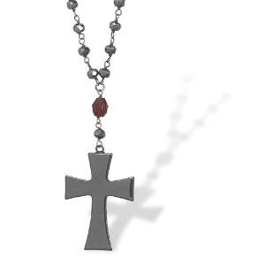 Garnet and Hematite Cross Necklace Antiqued Sterling Silver Adjustable Length - Made in the USA