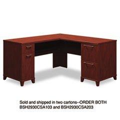 """-- 60""""W x 60""""D L-Desk (Box 2 of 2) Enterprise: Harvest Cherry"""