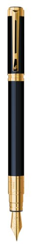 Waterman Perspective Gift Box includes Medium Nib Gold Trim Fountain Pen - Black Lacquer