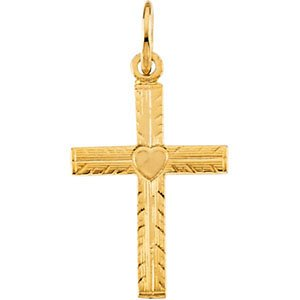 Childrens 14k Yellow Gold Heart Cross Necklace, 16