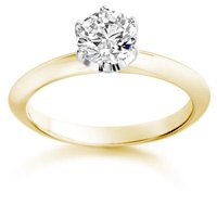 0.84 Carat D/SI2 Round Brilliant Certified Diamond Solitaire Engagement Ring in 18k Yellow Gold