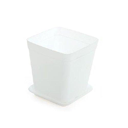 6 Pcs Flower Pot Square Plastic Planter Nursery Garden Desk-White